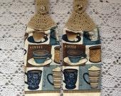 Coffee Kitchen Towels Set, Crochet-Top Towel set,  Coffee Lovers Gift, Christmas gift, Kitchen Towel Set, Coffee Towel Set, Coffee Gift, Cof