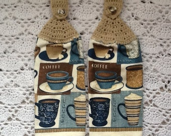 Coffee Kitchen Towels  Set of Two Crochet-Top Towels Coffee Lovers Gift