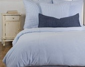Seersucker Duvet Cover Blue Black or Red - twin, full, queen, king, cal king, extra long twin