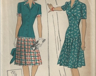 RARE 40s DuBarry 5606 Blouse and Skirt Sewing Pattern Size 18 B36