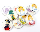 """10 Alice in Wonderland Buttons. Handmade Buttons.  3/4"""" or 20 mm Fairy Tale or Story Buttons. Sewing, Knitting, Crochet Accessories."""