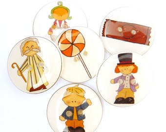 "6 Candy or Chocolate Maker Buttons. Handmade buttons. 3/4"" or 20 mm Resin Sewing Buttons."