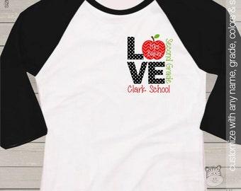 Teacher shirt - love school FRONT and BACK personalized raglan shirt for teachers
