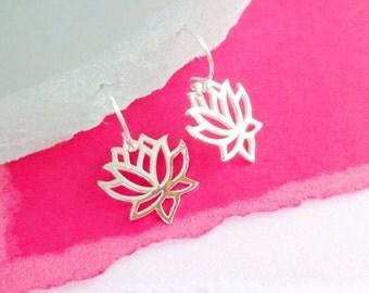 Lotus Earrings, Yoga jewelry, waterlily earrings, sterling silver, zen jewelry, bhuddist, lotus jewelry, lotus flower, spiritual jewelry