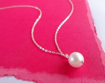 Simple pearl necklace, Bridesmaid gifts, pearl solitaire, freshwater pearl, necklace, pearl jewelry, bridal jewelry, otis b, real pearls