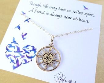 Graduation gift, Best friend gift, Compass necklace, Friendship card, compass charm, Friendship necklace, BFF, friend gift, class of 2016