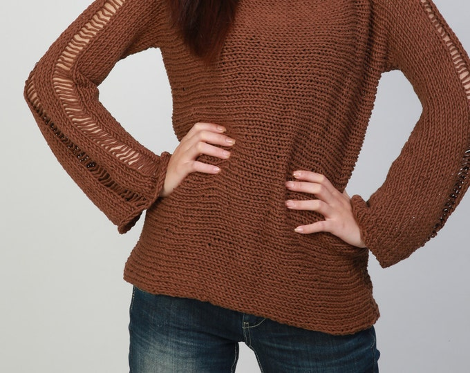 Hand Knit Woman Sweater - Eco Cotton sweater in Mocha