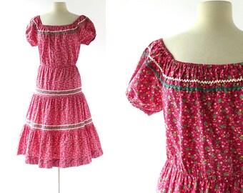 1950s Floral Dress / Vintage Patio Dress / 50s Dress / 1950s Dress / M L