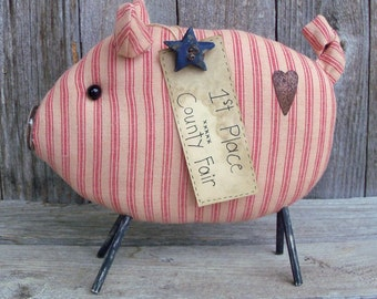 Oscar the County Fair Pig, Sow, Farm Animal, Stripes, Barnyard,Country, Primitive,Rustic Decor, Red, Tan, Homespun, Star, Heart, County Fair