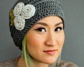 Women's crocheted flower hat - pewter gray with a trio of ecru roses and pea green leaves