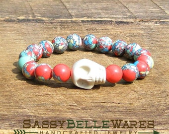 Ivory Skull Bracelet choose plain or Swarovski crystal eyes rocker girl glam chic edgy stacking yellow pink mint green aqua coral Gasparilla