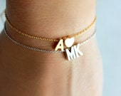 Double Charm Initial Bracelet Uppercase - Silver Gold Initial Dainty Bracelet Custom Bridal Personalized Bridesmaid Gift Wedding Dainty