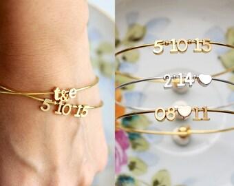 Date Bracelet Gift Set - Bridal Gift, Wedding Gift, Personalized Gift, Personalized Bracelet, Date Bracelet Initial Bracelet Valentines date