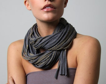 Infinity Scarf, Gift For Her, Dark Gray Scarf, Birthday Gift, Boho, Git Ideas, Bohemian, For Her, Accessories, Tribal, Trendy, Gray Scarves