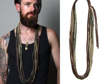 Necklaces, Mens Necklace, Gift for Men, Necklace Mens, Layered Necklace, Long Necklace, Tribal, Boho Long Necklace, Long Statement Necklace