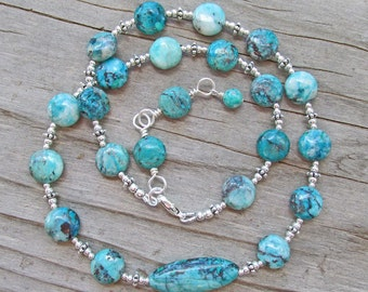 Blue Chrysocolla Sterling Silver Yoga Statement Necklace, Healing Natural Gemstones