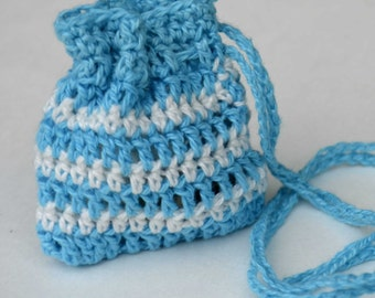 Lucky Charm  Pouch  Turqoise blue & White for boys, girls, adults