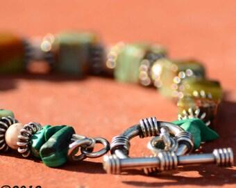 Green Opal & Malachite Beaded Bracelet  UpCycled Vintage Stones, for Men or Women