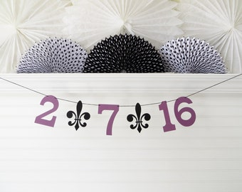 Save the Date Banner - 5 Inch Numbers with Fleur De Lis - Wedding Garland Save the Date Photo Prop Wedding Date Banner Fleur De Lis Banner