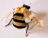 Golden Summer Bumblebee Brooch Soft Sculpture Textile Art Natural History Woodland Fashion Nature Lover Gift