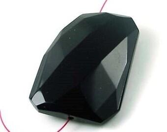 40mm Black Onyx Agate Faceted FreeForm Pendant Bead  (e5574)