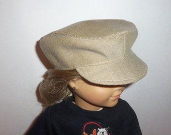 Tan Newsboy Hat, 18 Inch Doll, 15 Inch Doll, Biker Cap, Handmade, Boy Girl Cap, American Made, Girl Doll Clothes