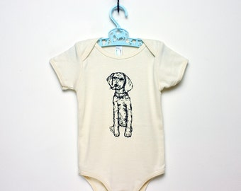German Pointer Puppy- Organic One-Piece- (6-12m) short sleeved