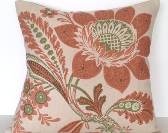 """16"""" x 16"""" Marcie Bronkar Home Couture Square Throw Pillow Cover Salmon Fig Linen Floral Rust Orange Green French Country Leaves Rustic Gypsy"""