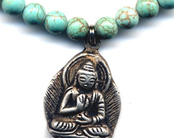 Nepal Necklace with Buddha, Turquoise Magnesite Buddha Necklace, Tibet Buddha Necklace, Nepal Jewelry by AnnaArt72