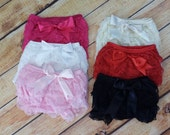 Ruffle Petti Lace Bloomers  Diaper Cover Petti Pants for Baby Pink, Black, White, Ivory, Hot Pink, Red
