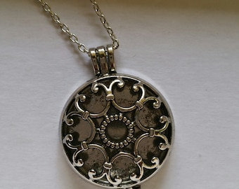 Silver Filigree Aromatherapy Locket Necklace