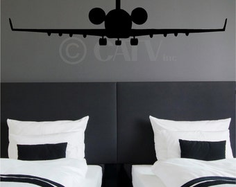 Airplane Jetliner vinyl wall decal sticker commercial plane landing wings