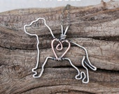 Pit Bull Necklace, Copper Dog, Dog Outline, Wire Jewelry