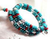 Turquoise and Coral Bracelet Memory Wire Southwestern Style Multi Strand Handmade Original - Boho Country Red Blue With Matching Earrings