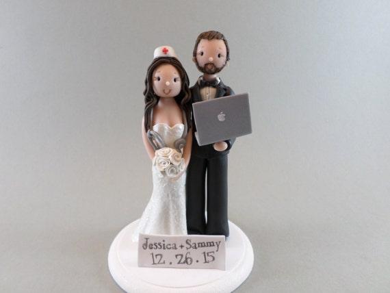 Custom Made Nurse Amp Computer Geek Wedding Cake Topper