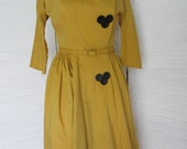 Dress, Mustard Gold with Full Skirt by Kerrybrooke from 50s - Size M