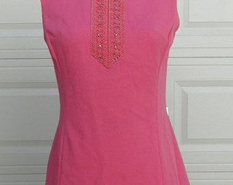 1960's Pink Mini shift Dress With Rhinestone detail
