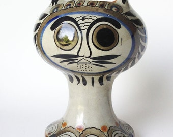 Ceramic Cat TONALA Mexican Art Pottery, Vintage Ken Edwards El Gato Candlestick Candle Holder