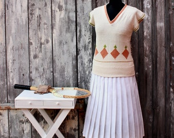 20s gatsby sweater sleeveless tennis white flapper