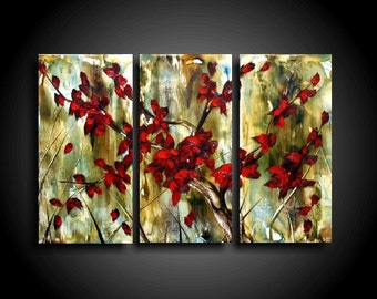 Small Abstract Painting Original Painting Encaustic Painting Modern Painting 3 piece Art Canvas Wall Art Red Tree Painting The Raw Canvas