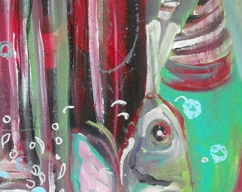 Original painting art work The tale of the fish