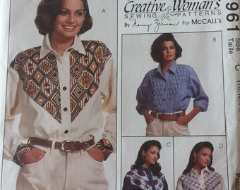 Misses Western Style Shirt Pattern Mccalls 6961 Misses Size 10-14 UNCUT designed by Nancy Zieman