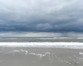 Storm Clouds Beach Photography, Neutral Beach Print, Navy Blue & Tan Beach Art, Jersey Shore Nature Photography,Coastal Wall Art,Ocean Print