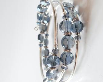 Blue Bangle Bracelet, Beaded Memory Wire Bracelet, Denim Blue Glass Bead Jewelry, Stacked Bracelet, Gift for Sister, Gift for Girlfriend