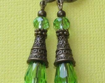 FAB Lite Green Crystal Teardrop Bali Style Cone BP LeverBack Earrings Boho