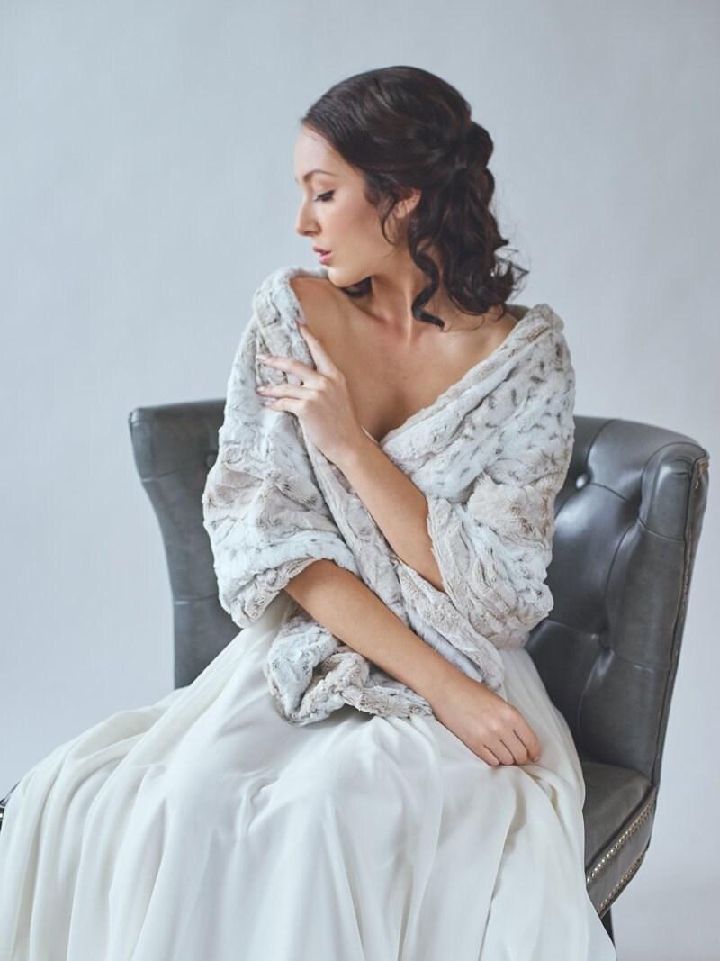 Wedding shawl faux fur stole winter wedding bridal fur zoom ombrellifo Choice Image