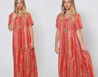 Vintage 90s Orange Caftan ETHNIC Maxi Dress Hippie TRIBAL Tent Dress Boho Dress O/S