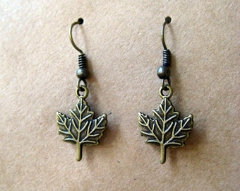 maple leaf earrings in antique gold