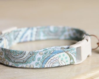 Cat Collar in Shabby-Chic Seashore Blue Paisley with Antique Copper Bell
