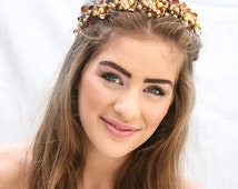 Rustic Woodland Golden Crown Wedding Headpiece, Gold and Amber Bridal Headpiece, Rustic Wedding Halo Beaded Wedding Hair Accessory